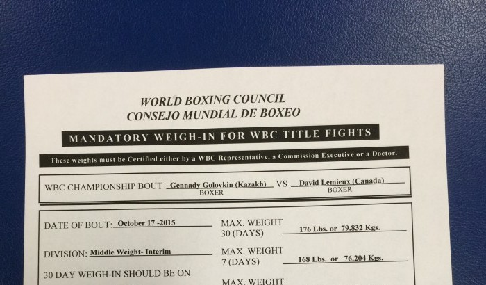 Golovkin Bang On at WBC 7-Day Weigh-in