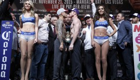 Miguel Cotto vs Canelo Alvarez PPV Weigh-in   11-20-2015 WBC Middleweight Title  Miguel Cotto 153.5 vs. Canelo Alvarez 155 photo Credit: WILL HART