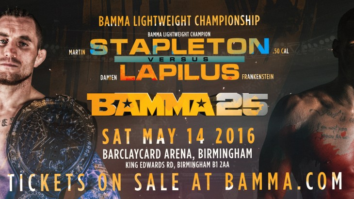 Stapleton-Lapulus Lightweight Title Fight Added to BAMMA 25 on May 14