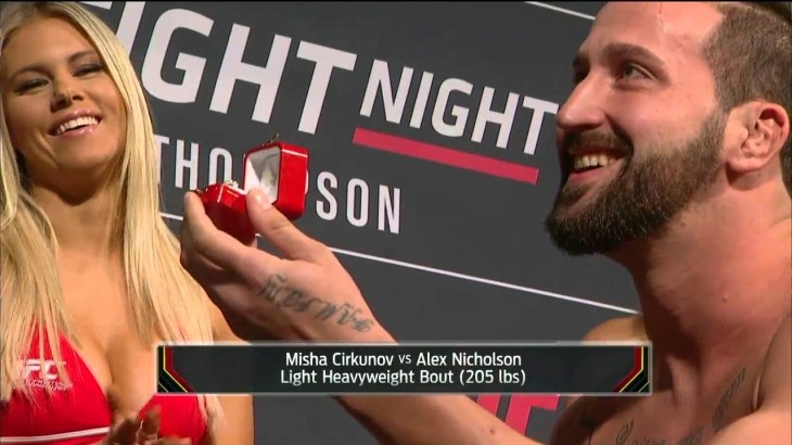 Video – UFC Fight Night Las Vegas: Alex Nicholson Wedding Proposal at Weigh-in