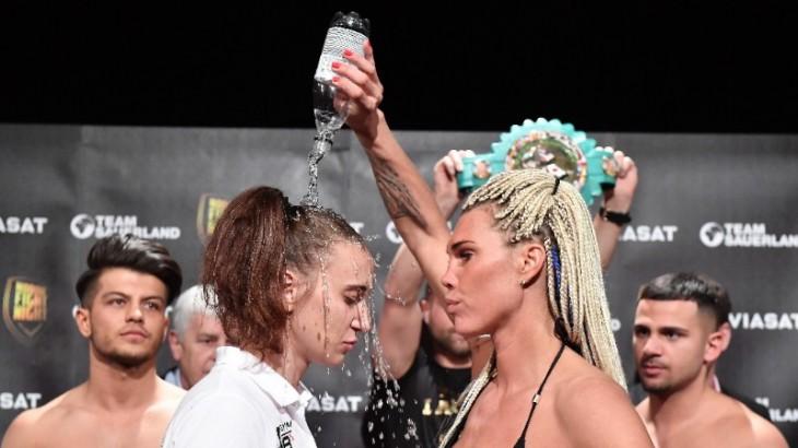 Skoglund vs. Liebenberg Weigh-in Results & Photos – Lauren Pours Water Bottle on Opponent