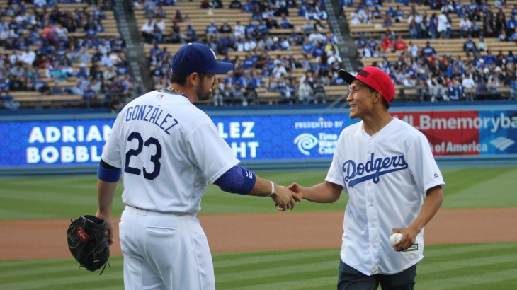 WBC Super Featherweight Champ Francisco Vargas Throws First Pitch at Los Angeles Dodgers Game