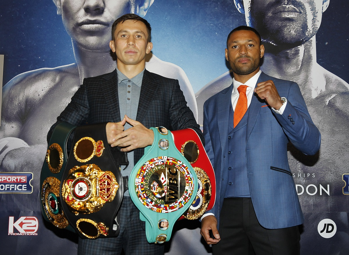 GOLOVKIN- BROOK FINAL PRESS CONFERENCE CANARY RIVERSIDE HOTEL,LONDON PIC;LAWRENCE LUSTIG GENNADY GOLOVKIN AND KELL BROOK COME FACE TO FACE AS THEY PREPARE FOR THEIR WORLD MIDDLEWEIGHT TITLE CLASH AT LONDONS 02 ARENA ON SATURDAY