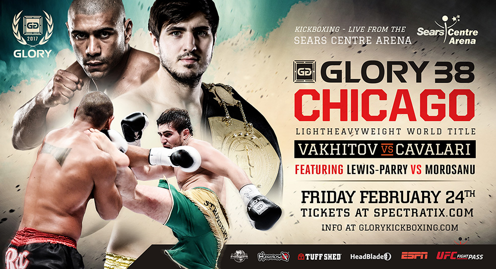 Kickboxing_Poster_GLORY38Chicago_ArtemVakhitov_SauloCavalari_ChiLewisParry_CatalinMorosanu2017_022417