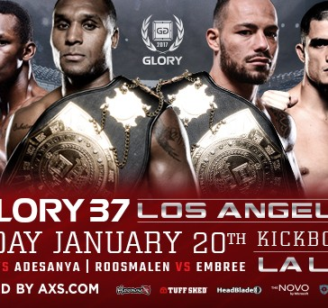 GLORY 37 Los Angeles & SuperFight Series Bouts Set for Jan. 20 Incl. Jason Wilnis vs. Israel Adesanya MW TItle Bout