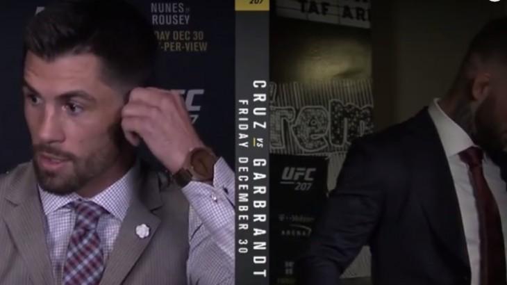 Cody Garbrandt Storms off During Satellite Interview with Dominick Cruz