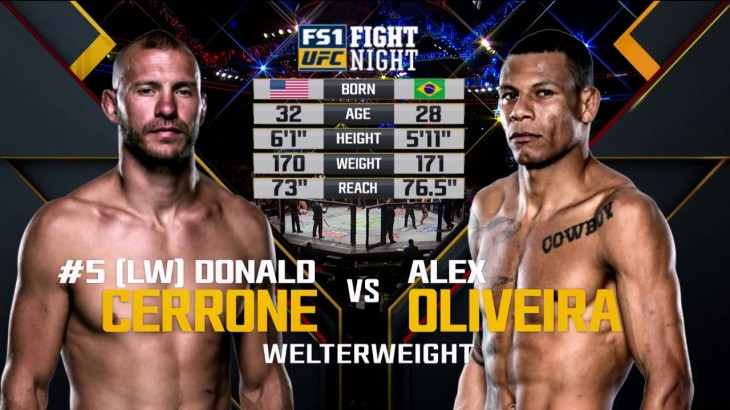 Donald Cerrone vs. Alex Oliveira at UFC Fight Night Pittsburgh from Feb. 21, 2016