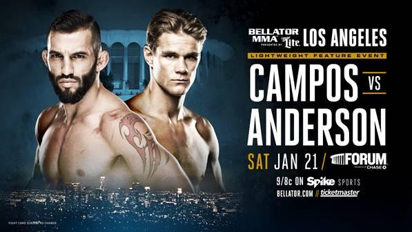 Derek Anderson vs. Derek Campos Completes Bellator 170 Main Card on Jan. 21 in Los Angeles