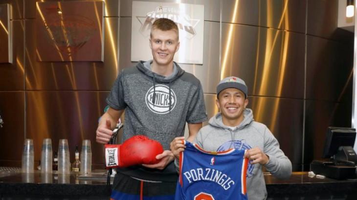 Gennady Golovkin Meets Kristaps Porzingis at New York Knicks Game