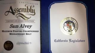 MFC's Sam Alvey's Smile Gets Brighter After Receiving Award