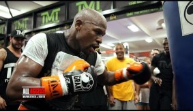 Video - All Access: Mayweather Trains Holding Stack of Cash